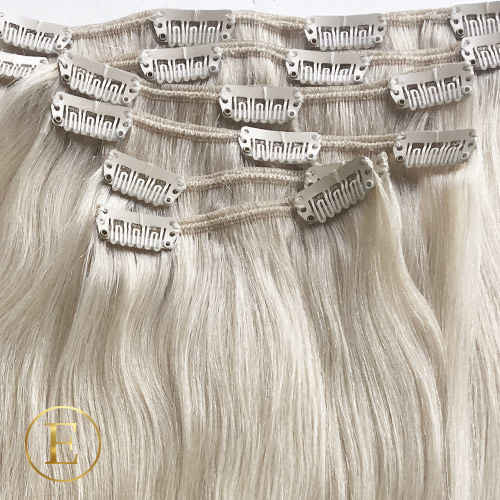 50 cm #613A askeblond clip on - 75 gram