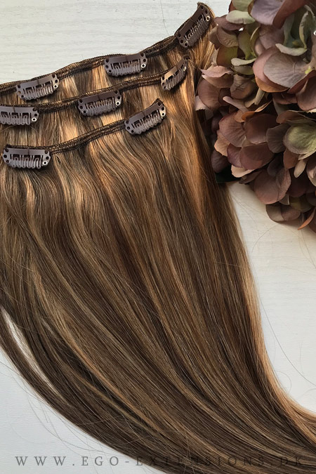 Brun og blond mix Clip on extensions