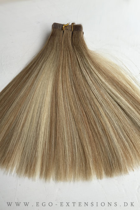 Dark roots blond mix Tape extensions